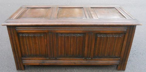 Reproduction Panelled Oak Blanket Chest